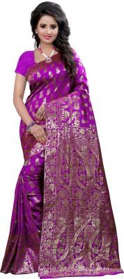 Creative Work Woven Banarasi Polycotton, Banarasi Silk Saree(Purple)
