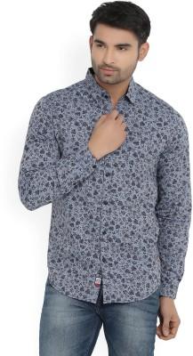 Locomotive Men's Floral Print Casual Blue Shirt