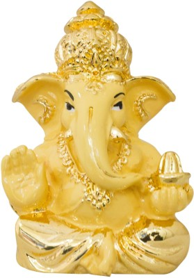 Gods & Gifts Premium Gold Plated Lord Ganesha Statue Showpiece  -  6 cm(Gold Plated, Polyresin, Beige, Gold)  available at flipkart for Rs.595