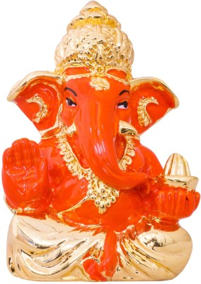 Gods & Gifts Premium Gold Plated Lord Ganesha Statue Showpiece  -  6 cm(Gold Plated, Polyresin, Orange, Gold)  available at flipkart for Rs.595