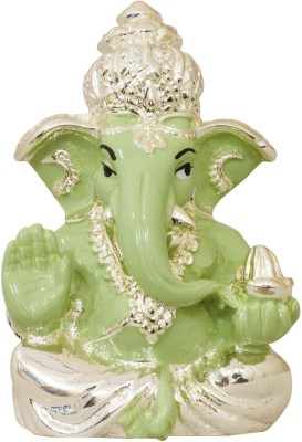 Gods & Gifts Premium Silver Plated Lord Ganesha Statue Showpiece  -  6 cm(Silver Plated, Polyresin, Green, Silver)  available at flipkart for Rs.595