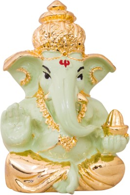 Gods & Gifts Premium Gold Plated Lord Ganesha Statue Showpiece  -  6 cm(Gold Plated, Polyresin, Green, Gold)  available at flipkart for Rs.595
