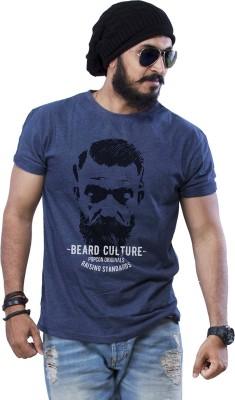 POPCON Printed Men Round Neck Blue T-Shirt
