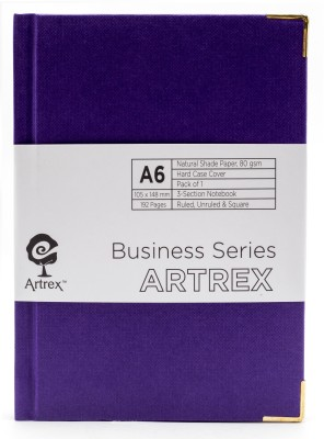 ARTREX A6 Note Book(BUSINESS A6 HARD CASE RULED + UNRULED + SQUARE NOTE BOOK, Blue)  available at flipkart for Rs.349