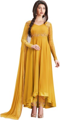 YOYO Fashion Georgette Embroidered Semi-stitched Salwar Suit Dupatta Material
