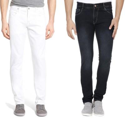 Ansh Fashion Wear Slim Men White, Black Jeans(Pack of 2)
