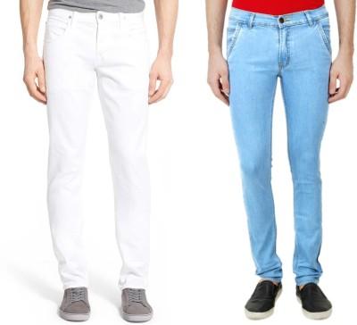 Ansh Fashion Wear Slim Men White, Blue Jeans(Pack of 2)