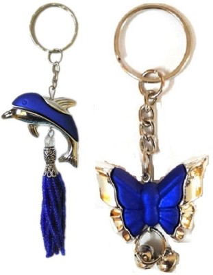 MM Set of 2 Fashionable Blue Keychain 1 Dolphin and 1 Butterfly Premium Charm Pendant Key Chain Key Chain  available at flipkart for Rs.169