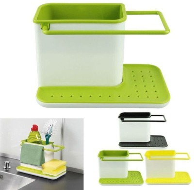 Divinext Mx-kitchen tools_20 Multicolor Kitchen Tool Set(divinext Kitchen Sink Tidy Self Draining Sink Caddy With Base Stand Organizer Brush Sponge Cleaning Cloth Holder)  available at flipkart for Rs.325