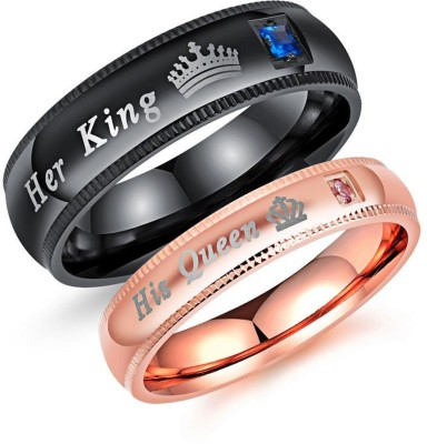Yellow Chimes Crown Engraved 'King Queen'' Rose Gold Crystal Stainless Steel Gold-plated Plated Ring
