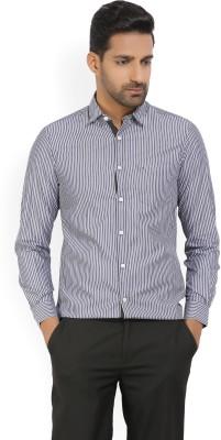 Indigo Nation Men's Striped Casual White, Blue Shirt