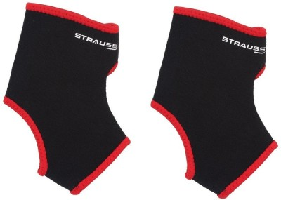 Strauss Fitness (Pair) Ankle Support (M, Black, Red)