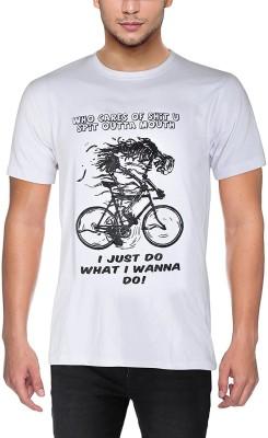 mebadass Printed Men Round Neck White T-Shirt