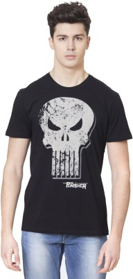 Punisher By Free Authority Printed Men Round Neck Black T-Shirt