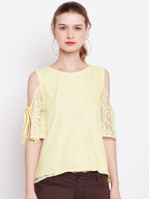 Rare Casual 3/4th Sleeve Lace Women Yellow Top
