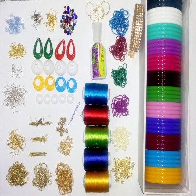 Valuebuy Silk thread bangle , earings making combo designing kit with all materials & multiple accessories- with thin bangles