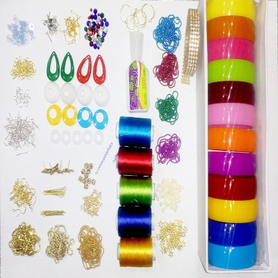Valuebuy Silk thread bangle , earings making combo designing kit with all materials & multiple accessories- with thick bangles