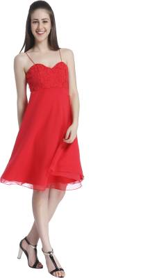 MISH Women Fit and Flare Red Dress