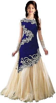 Fashion Duds Baby Girls Lehenga Choli Ethnic Wear Embroidered Ghagra Choli(Blue, Pack of 1)
