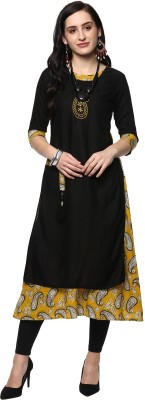 Metro Fashion Printed, Embroidered Women Flared Kurta(Black, Red)