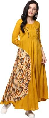 Ayan Women Embroidered Anarkali Kurta(Yellow, Yellow)