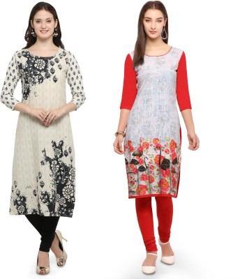 Envy 9 Casual Printed Women Kurti(Pack of 2, White, Red)