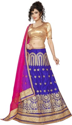 Oomph! Embellished Semi Stitched Lehenga, Choli and Dupatta Set(Red, Gold, Green)