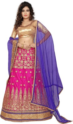 Oomph! Embellished Semi Stitched Lehenga, Choli and Dupatta Set(Pink, Gold, Blue)