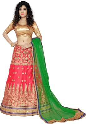 Oomph! Embellished Semi Stitched Lehenga, Choli and Dupatta Set(Blue, Gold, Pink)