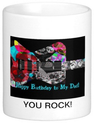 Exoctic Silver Father's Dad's Happy Birthday Series 09 Ceramic Mug(300 ml) at flipkart