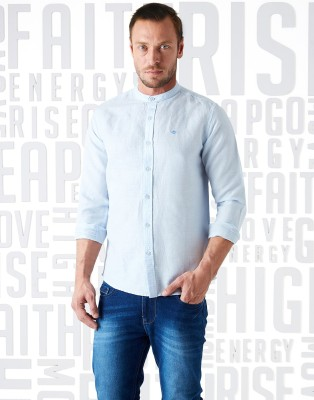 Metronaut Men Solid Casual Light Blue Shirt