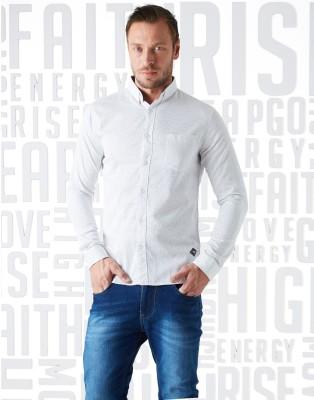 Metronaut Men Printed Casual White Shirt