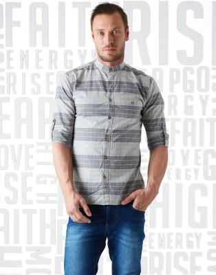 Metronaut Men Checkered Casual Grey Shirt