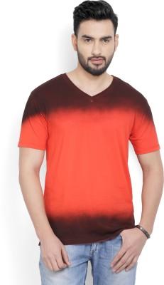 Billion PerfectFit Self Design Men V Neck Red T-Shirt