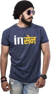 POPCON Printed Men Round Neck Dark Blue T-Shirt