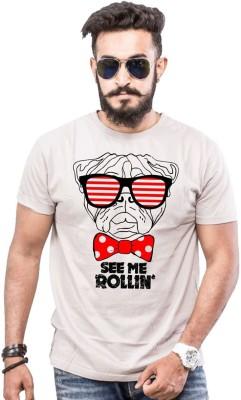POPCON Printed Men Round Neck Grey T-Shirt