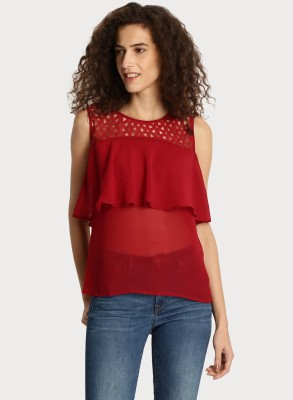 Rare Casual No Sleeve Solid Women Maroon Top