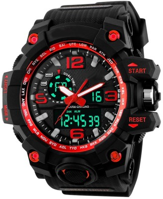 Oxhox Analog-Digital Multi-ColoR Dial Unisex Watch (Black_Red) Watch  - For Men