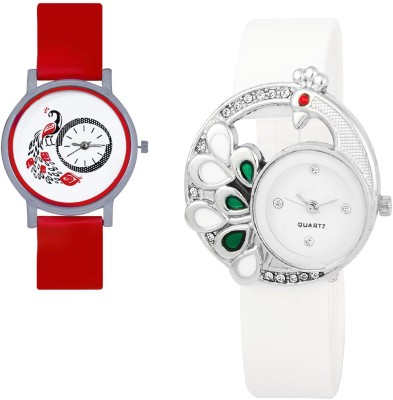 INDIUM NEW WHITE PEACOCK WATCH FANCY WITH LATEST PEACOCK OTHER WATCH COMBO Watch  - For Girls   Watches  (INDIUM)