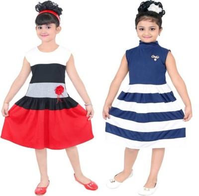 Style Junction Girls Midi/Knee Length Party Dress(Black, Fashion Sleeve)