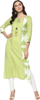 Prakhya Women Printed Straight Kurta(Green)