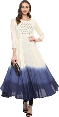 Prakhya Women Printed Anarkali Kurta(Blue)