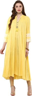 Prakhya Women Printed Anarkali Kurta(Yellow)