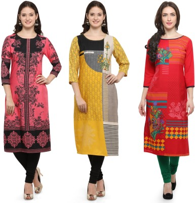 Envy9 Casual Printed Women Kurti(Pack of 3, Pink, Yellow, Red)