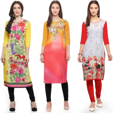Envy9 Casual Printed Women Kurti(Pack of 3, White, Red, Beige)