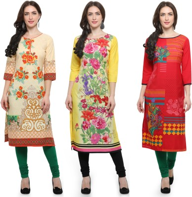 Envy9 Casual Printed Women Kurti(Pack of 3, Beige, Yellow, Red)