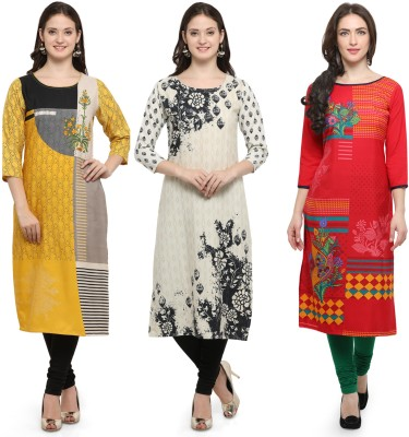 Envy9 Casual Printed Women Kurti(Pack of 3, Yellow, White, Red)
