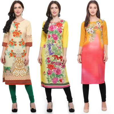 Envy9 Casual Printed Women Kurti(Pack of 3, Beige, Yellow, Yellow)