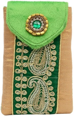 08109a7d898 Bagaholics Ethnic Raw Silk Saree Clutch Mobile Pouch Waist Clip Ladies  Purse Gift For Women Mobile Pouch(Green)