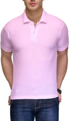 TNX Solid Men's Polo Neck Pink T-Shirt